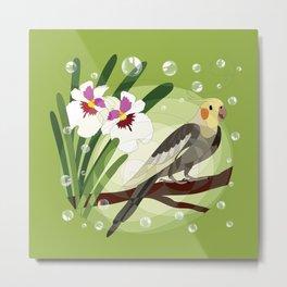 Cockatiel and flower Metal Print