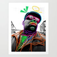 biggie Art Prints featuring Biggie by Kibwe Maono