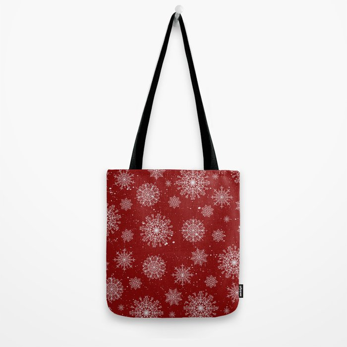 Assorted White Snowflakes On Red Background Tote Bag