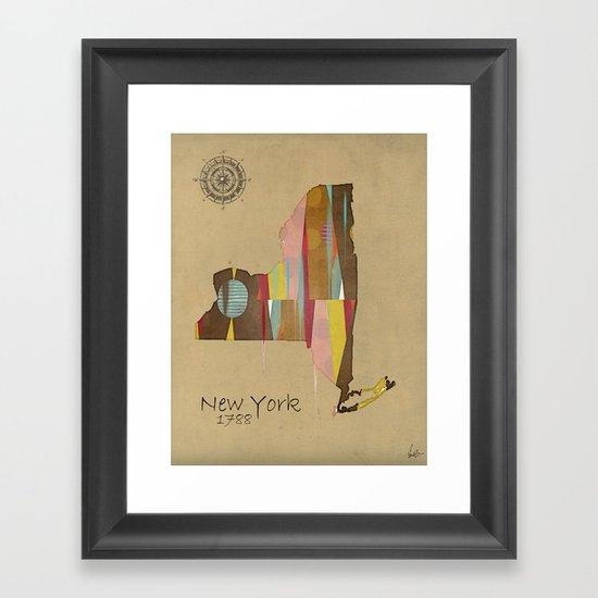new york state map Framed Art Print