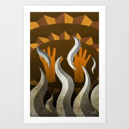 The New Old Waves - (ASL Marquetry Series) Art Print