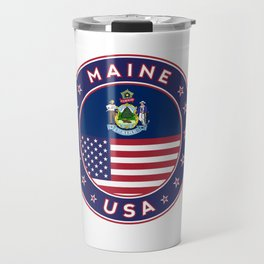 Maine, Maine t-shirt, Maine sticker, circle, Maine flag, white bg Travel Mug