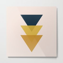 Triangle Trio Minimalist Geometric in Mustard Yellow and Navy Blue and Blush Pink Metal Print