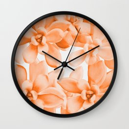 Succulents in Living Coral Color White Background #decor #society6 #buyart Wall Clock