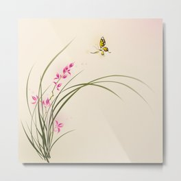 Oriental style painting - orchid flowers and butterfly 004 Metal Print