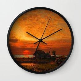 Coastal Landscape Late August Sunset Wall Clock
