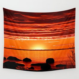 Red sunset Delight Wall Tapestry