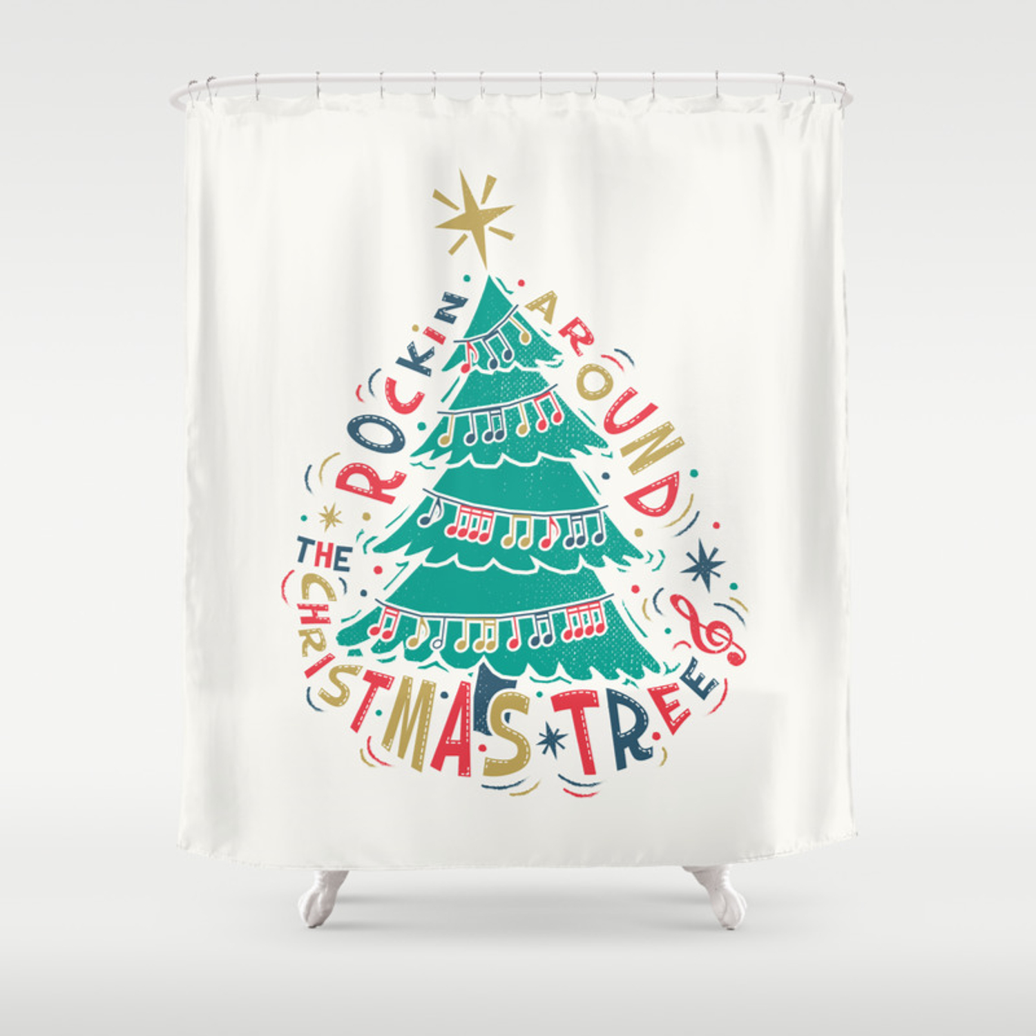 Rockin Christmas Shower Curtain By Wordquirk Society6