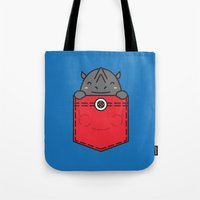 pocket Tote Bags featuring Pocket Rhino by Steven Toang