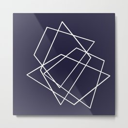 Navy and White Geometric Shape print Metal Print