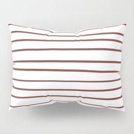 Pantone Burnt Henna Red 19-1540 Hand Drawn Horizontal Lines on White Pillow Sham