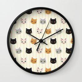 Cute Kitten & Stripes Pattern Wall Clock