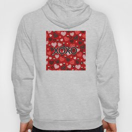 XOXO Valentine Pattern With Hearts Hoody