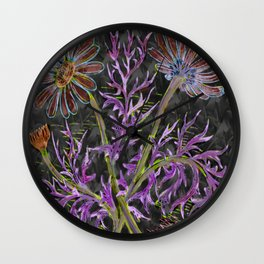 psychedelic blooming flowers Wall Clock