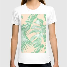 Tropical Leaves Palm Green on Citrus T-shirt