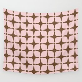 Mid Century Modern Star Pattern Pink and Brown Wall Tapestry