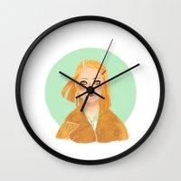 tenenbaum Wall Clocks featuring Margot Tenenbaum by Galaxyspeaking