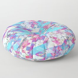 Blue magenta marble grungy triangles Floor Pillow