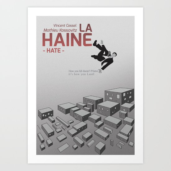 "La Haine ""Hate"" Minimal Movie Poster,  Mathieu Kassovitz, Vincent Cassel, Hubert Koundé,  Taghmaoui Art Print"