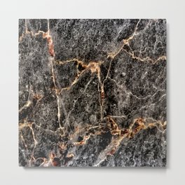 Luxurious Charcoal Black and Rose Gold Vein Marble Metal Print