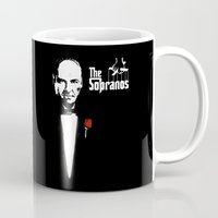 the godfather Mugs featuring The Sopranos (The Godfather mashup) by Agu Luque