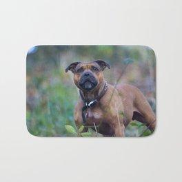 STAFFY DOG IN WOODLAND Bath Mat