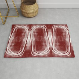"Brick Red Modern Geometric Abstract ""Stacked II""  Rug"