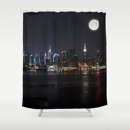 New York Supermoon Shower Curtain