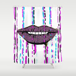 Glitter Lips Abstract Shower Curtain