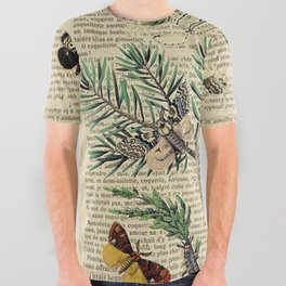 Book Art Caterpillar, Moths & Butterflies All Over Graphic Tee