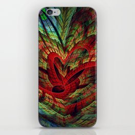 Entangled hearts, symbolic fractal abstract iPhone Skin