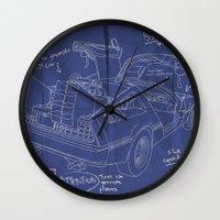 blueprint Wall Clocks featuring Time Machine Blueprint by El LoCo