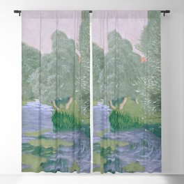 Landscape Painting Vintage Art Blackout Curtain