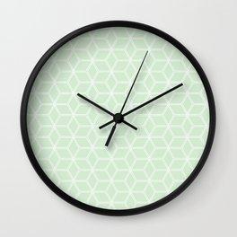 Geometric Hive Mind Pattern - Light Green #395 Wall Clock