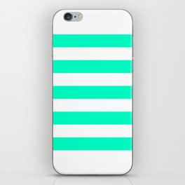 Mint White Stripes iPhone Skin
