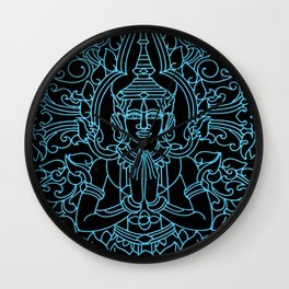 Royal Cambodian Gates: Black and Turquoise Wall Clock