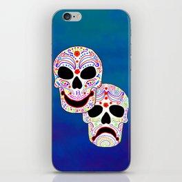 Comedy-Tragedy Colorful Sugar Skulls iPhone Skin