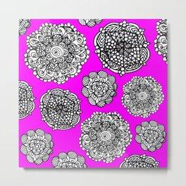 Fushia mandala maze  Metal Print