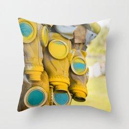 Yellow gas mask Throw Pillow
