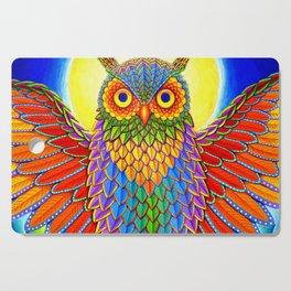 Colorful Rainbow Owl Cutting Board