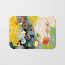 abstract floral art in yellow green and rose magenta colors Bath Mat