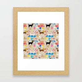 Miniature Doberman Pinscher dog beach day summer fun dog lover min pin Framed Art Print