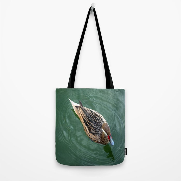 Duck Circles | Duck in Green Water With Oval Ripples Tote Bag