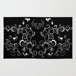 Abstract floral ornament in white color Rug