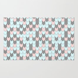 Modern coral teal gray geometrical zigzag chevron Rug