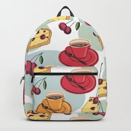 Cherry Pie And A Hot Cup Of Coffee Backpack