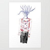 Tentacles head Art Print