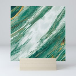Emerald Jade Green Gold Accented Painted Marble Mini Art Print