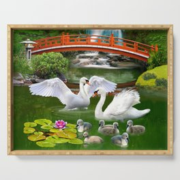 Swans and Baby Cygnets in an Oriental Landscape Serving Tray