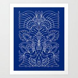 Blue ornaments Art Print